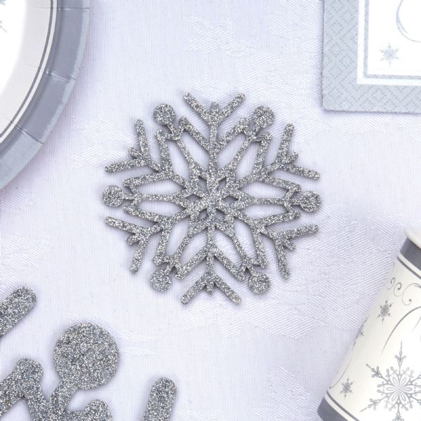 Shimmering Snowflake Silver Glitter Coasters (4)